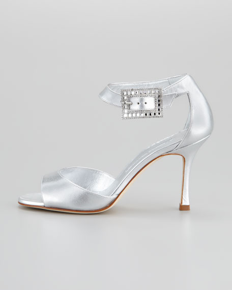 Dribbin Metallic Leather Ankle Strap Evening Sandal,