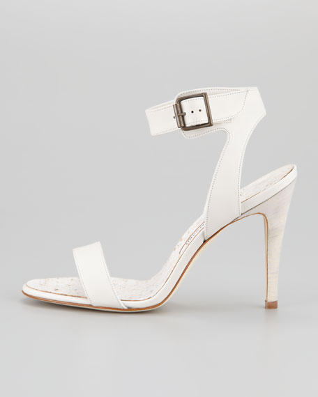 Ossimo Leather Ankle-Wrap Sandal, White