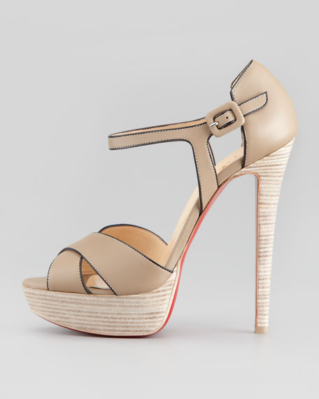 Sporting Buckle Ankle-Wrap Platform Sandal, Taupe