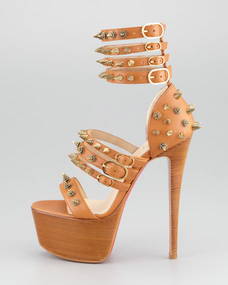 Botticellita Spiked Platform Sandal, Brown