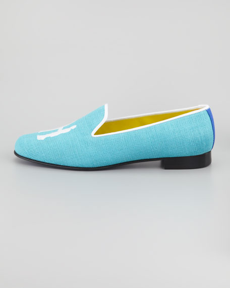 Audrey Linen Smoking Loafer, Turquoise