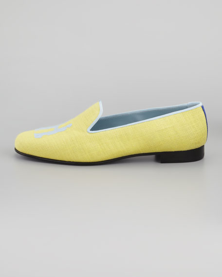Audrey Linen Smoking Loafer, Yellow