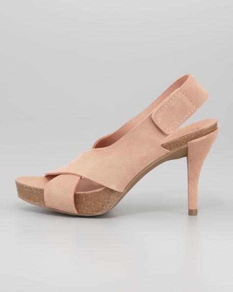 Libby Mid-Heel Suede Crisscross Sandal, Nude