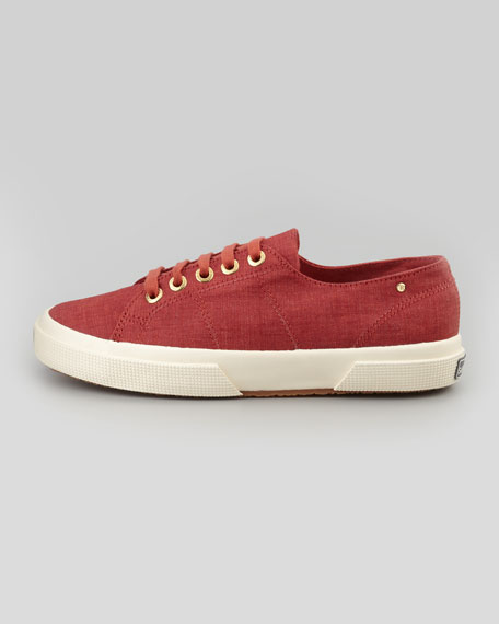 Linen Lace-Up Sneaker, Rust