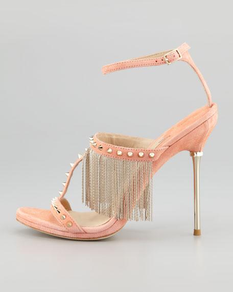 Moultrie Metal Fringe & Studded Suede Sandal