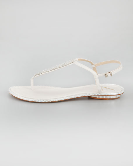 Callas Crystal Thong Sandal, White