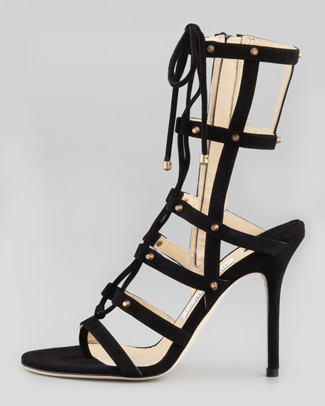 Jimmy Choo Meddle Cage Gladiator Ankle Boot, Black