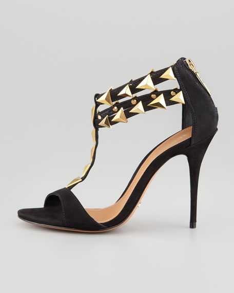 Akshya Spiked Sandal, Black/Gold