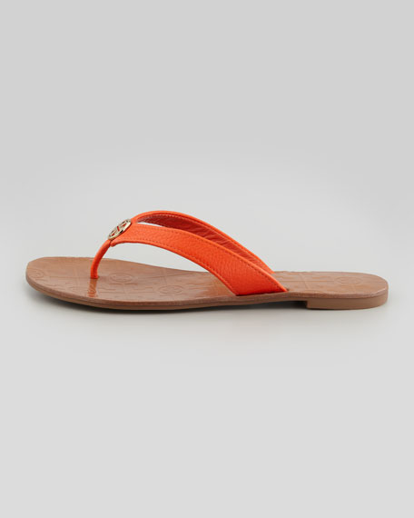 Thora Leather Thong Sandal, Orange