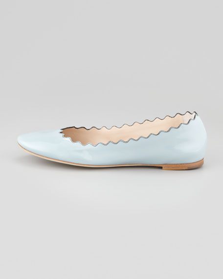 Scalloped Patent Leather Ballerina Flat, Blue