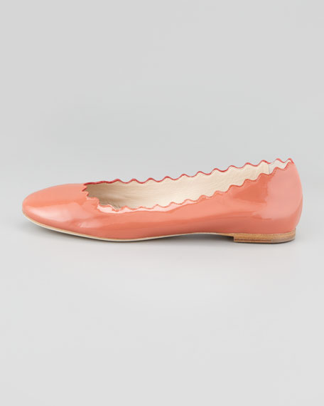 Scalloped Patent Leather Ballerina Flat, Salmon