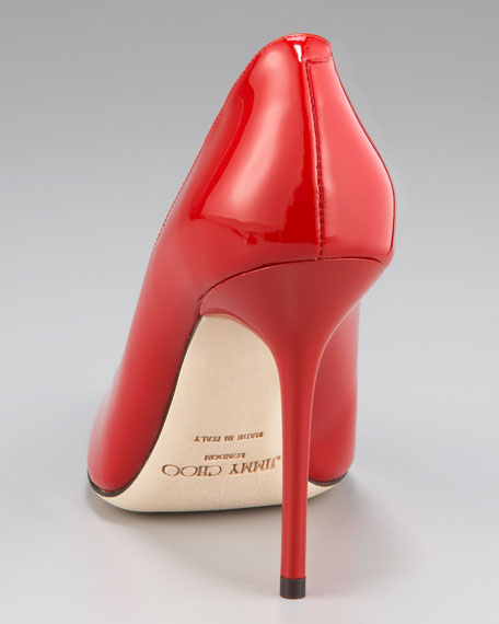 Abel Point-Toe Patent Pump, Red
