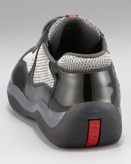Patent Leather Sneaker, Dark Green