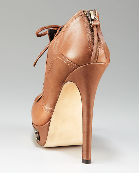 Lace-Up Metal-Detail Bootie