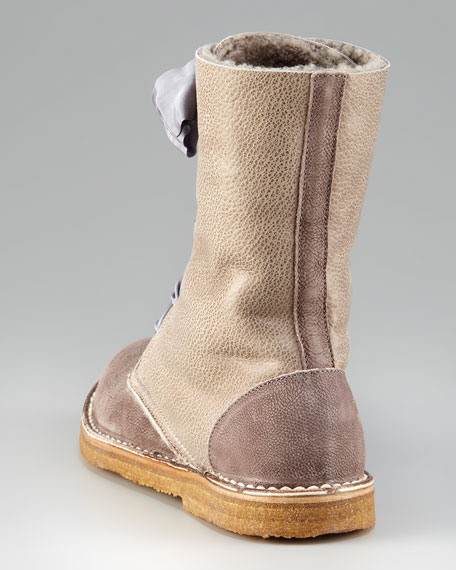 Shearling-Lined Lace-Up Boot