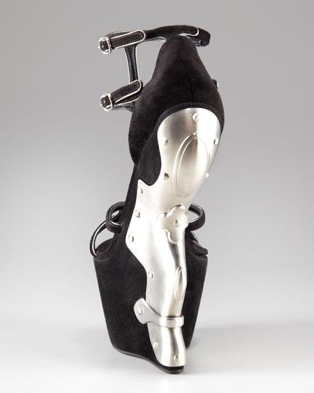Metal-Heel Wedge Sandal