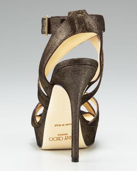 Glittered Suede Strappy Platform Sandal