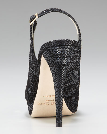 Snake-Print Slingback, Black