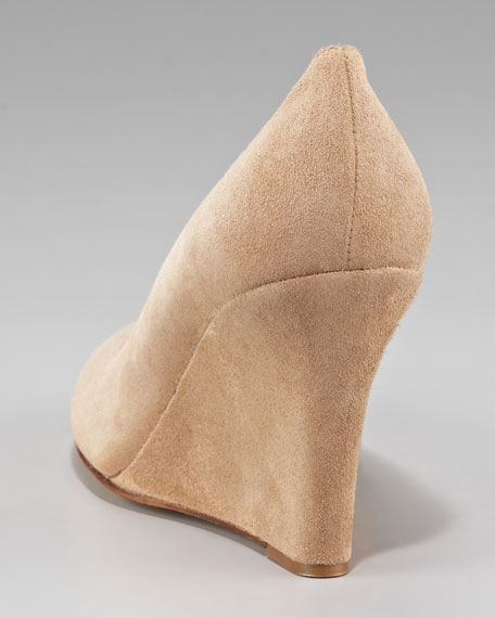 suede wedge pump, taupe