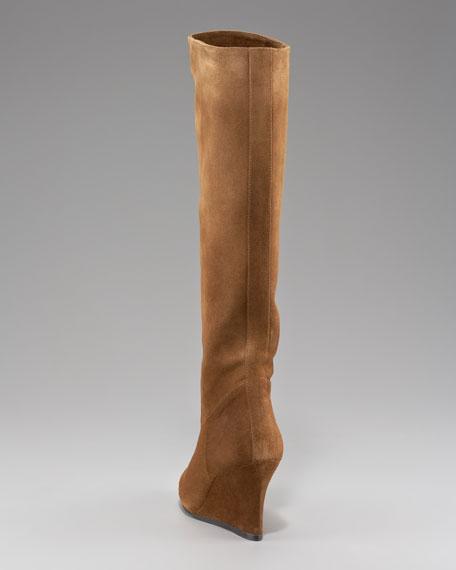 Suede Wedge Knee Boot, Brown
