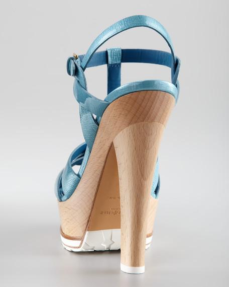Tribute Wooden-Heel Platform Sandal