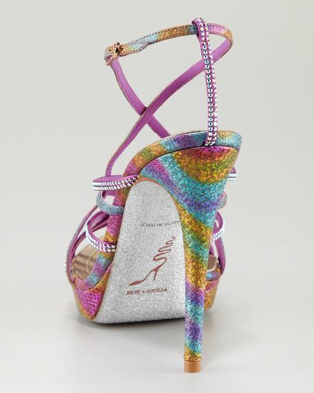 Crystal-Embellished Crisscross Platform Sandal