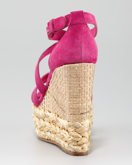 Woven Wedge Suede Sandal, Hot Pink