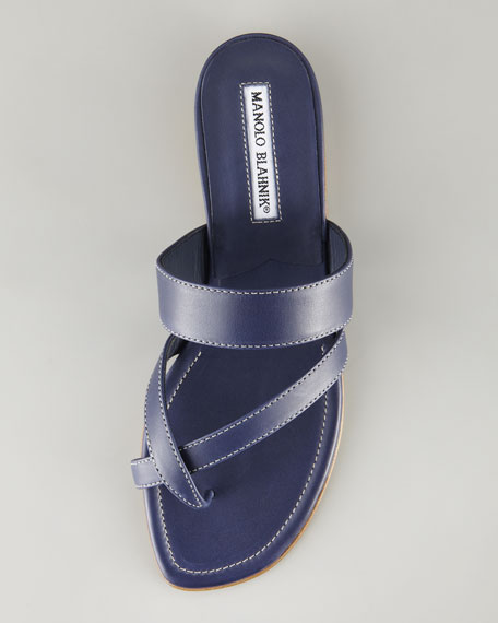 Susa Leather Flat Sandal, Navy