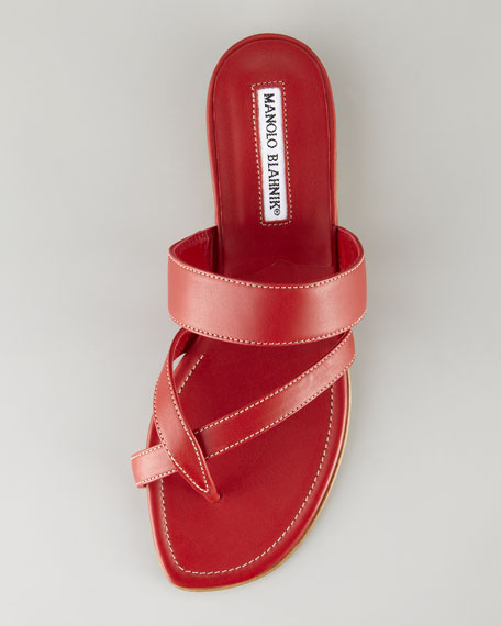 Susa Flat Leather Sandal, Red