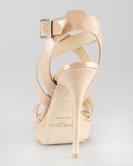 Vamp Platform Sandal, Nude
