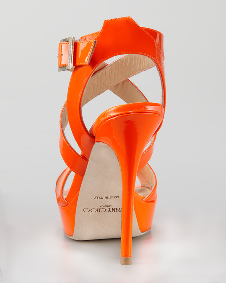 Vamp Platform Sandal, Orange