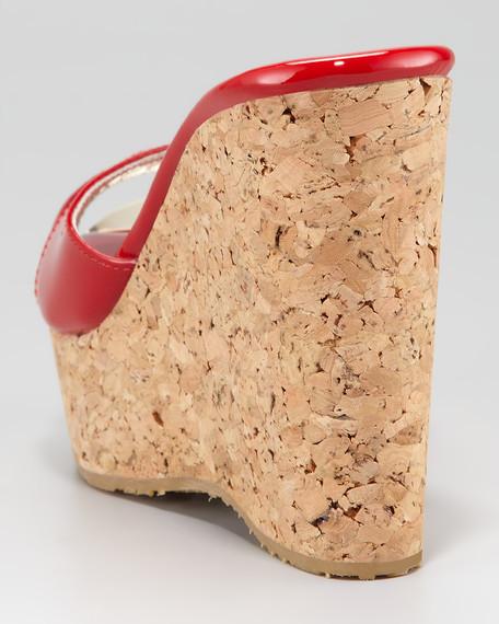 Perfume Cork Wedge Slide, Red