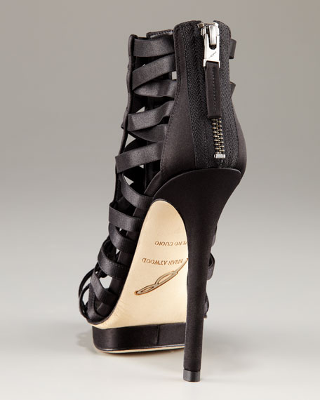 Open-Toe Black-Satin Multi-Strap Back-Zip Platform Sandal