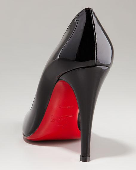 Decollette Patent Red Sole Pump, Black