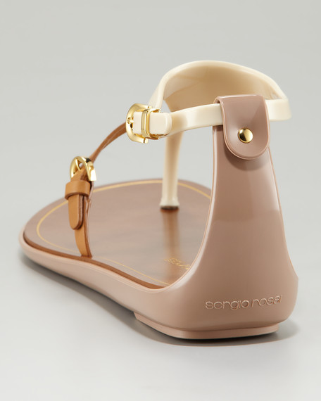 Jelly T-Strap Sandal, Ivory/Tan