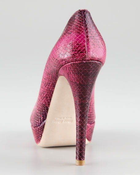 Embossed Peep-Toe Pump, Pink