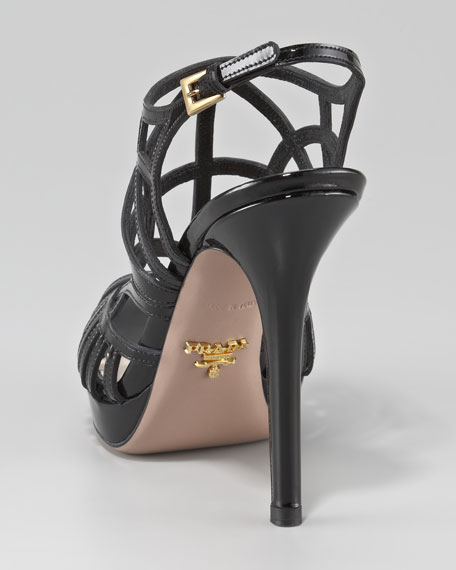 Caged Patent Leather Slingback Pump
