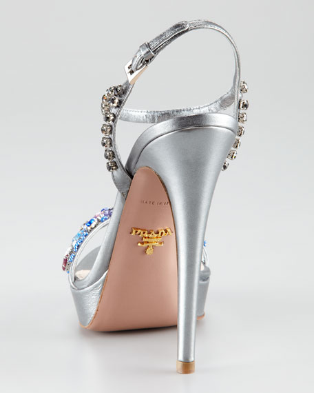 Jeweled Metallic Platform Sandal