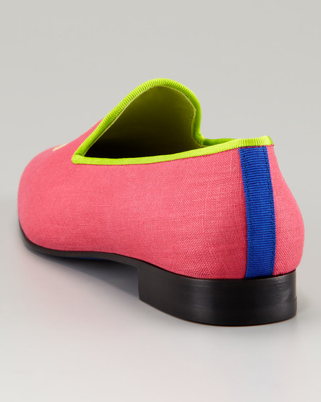 Embroidered H Gentlemen Linen Loafer, Hot Pink
