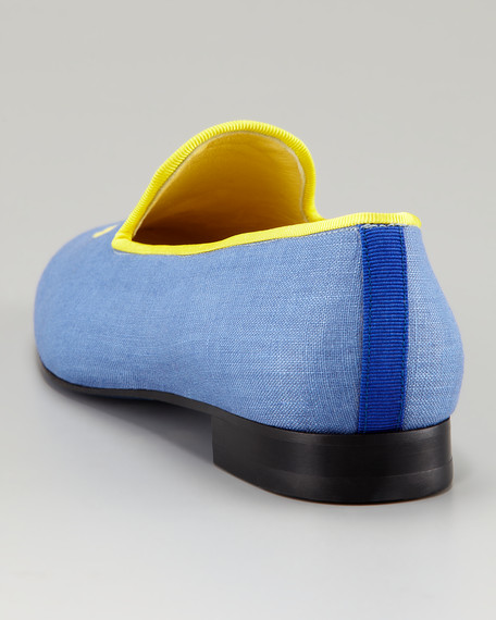 Embroidered H Gentlemen Linen Loafer, Chambray Blue