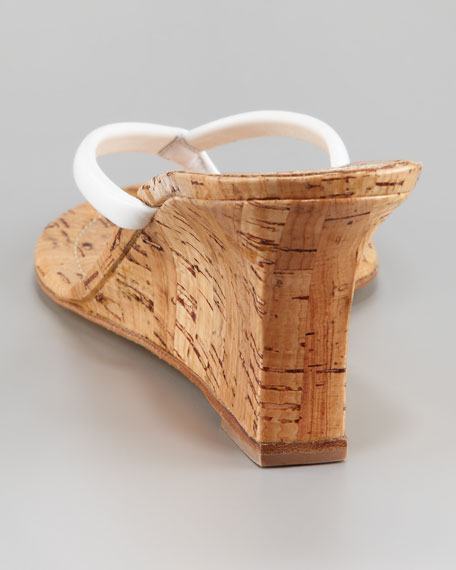Patwedge Cork Sandal, White