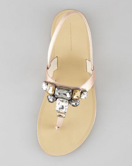 Rina Bejeweled Flat Satin Sandal