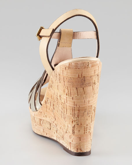 Two-Tone Woven Cork Wedge, Silver