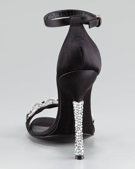 Ava Chain-Trim Ankle-Wrap Sandal