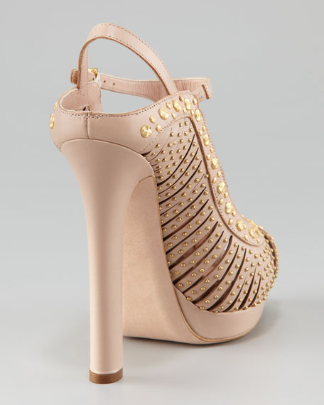 Metal-Stud T-Strap Sandal