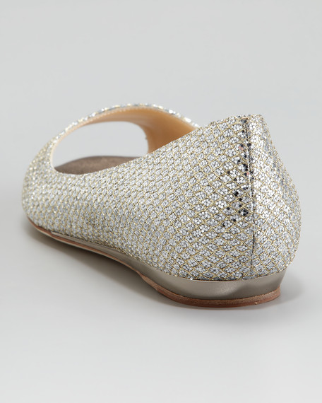 Beck Open-Toe Glitter Flat, Champagne