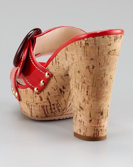 Buckle Slide Sandal, Dark Coral Red