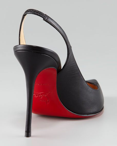 Corneille Asymmetric Red Sole Slingback, Black