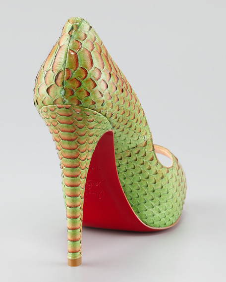 christian louboutin boots replica - Christian Louboutin Very Prive Python Red Sole Pump, Menthe Green