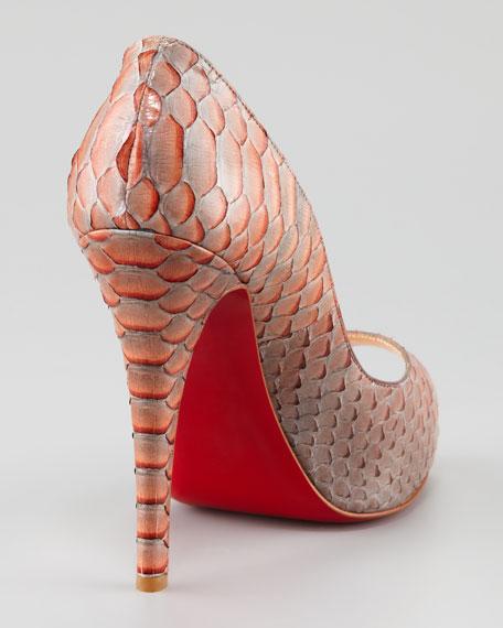 Very Prive Python Red Sole Pump, Mandarin Red